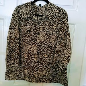 Notations, Button Front, Animal Print Blouse